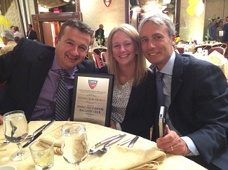From left to right: Tonny VanDePieterman, Lori Sarnelli and Marc Kemp honored at the USTA Eastern Long Island Region Awards Dinner