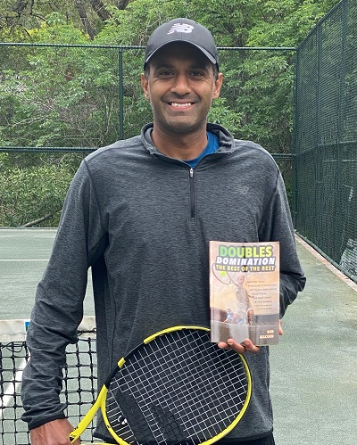 """Longtime ATP Tour pro Rajeev Ram has raved about Allcorn's book """"Doubles Domination""""."""