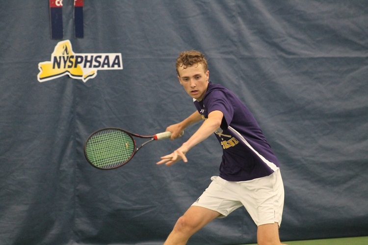Patrick Maloney chases down a forehand during the NYSPHSAA Singles Championship on Saturday.