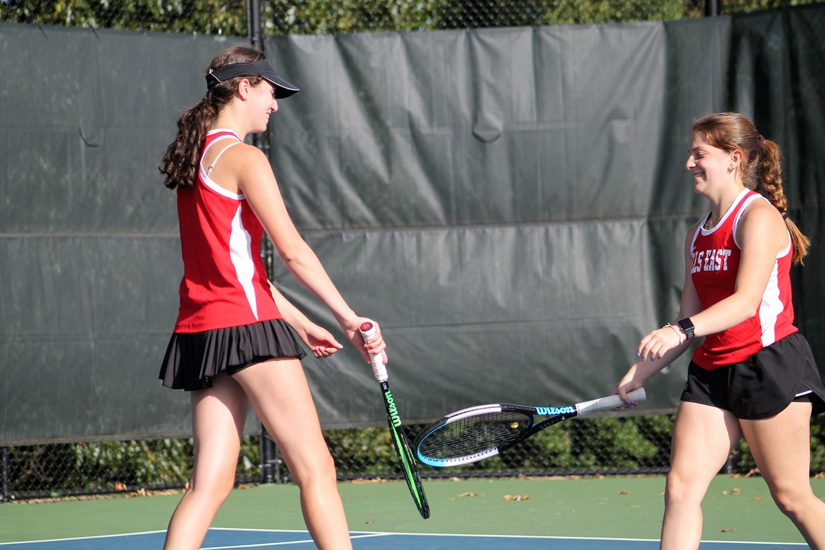 Ariel Dubler and Alana Zinkin won at first doubles to help lead Hills East to a win over Commack.