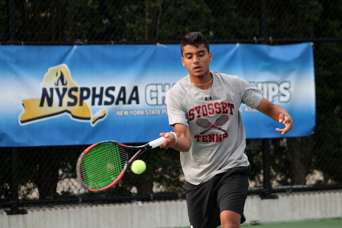 Syosset's Kabir Rajpal hits a forehand during last year's NYSPHSAA Boys' Singles Championship.