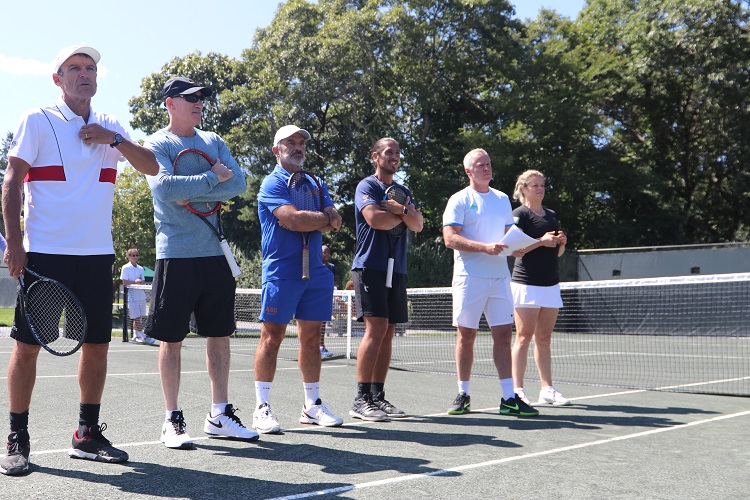 Tennis Legends Mats Wilander, Brad Gilbert, Emilio Sanchez, Guillermo Willy Cañas, Patrick McEnroe and Kim Clijsters get ready to take the court at this year's JMTP Pro-Am.