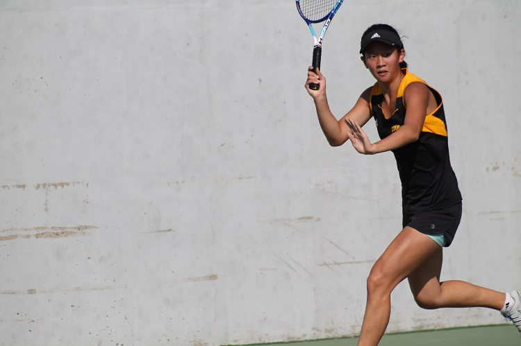Kimberly Liao, pictured here competing for Commack, is excited to be able to play outdoor tennis once again.