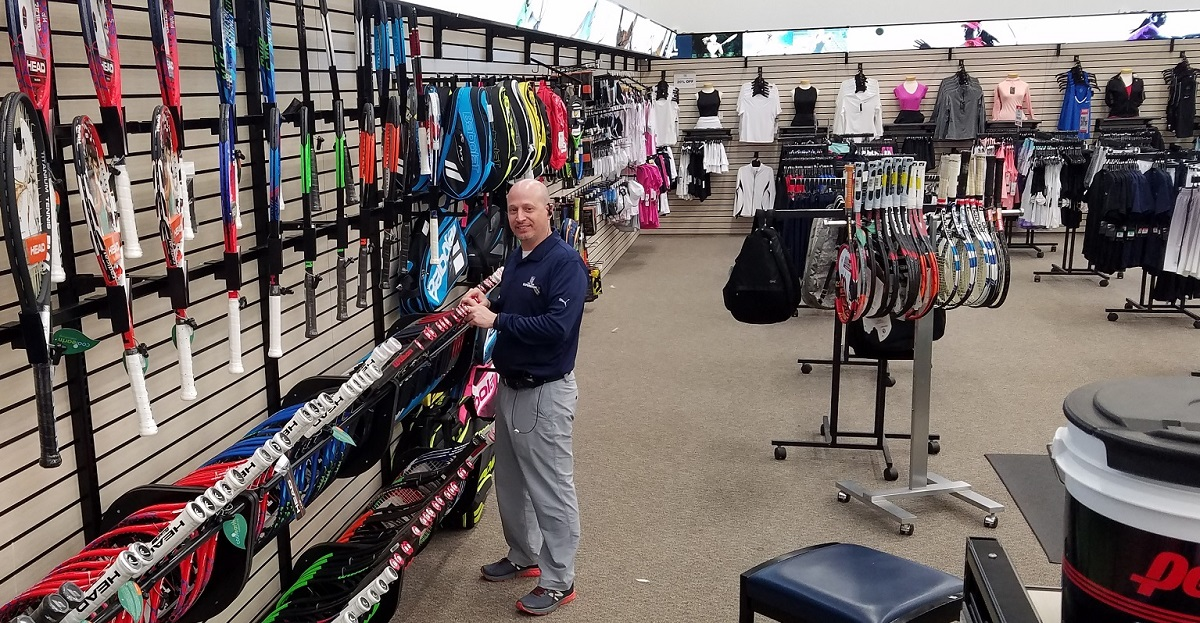Part of the tennis section of the PGA Tour Superstore in Westbury, N.Y.