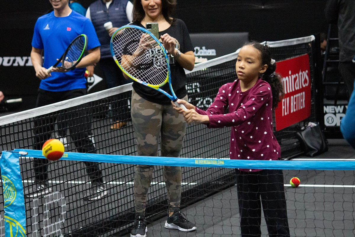 To begin the Expo, Pop Earth members took part in a free clinic on Stadium Court led by legendary tennis coach Nick Bollettieri, the Farmingdale State College tennis teams as well as players from Roslyn and West Islip High School.