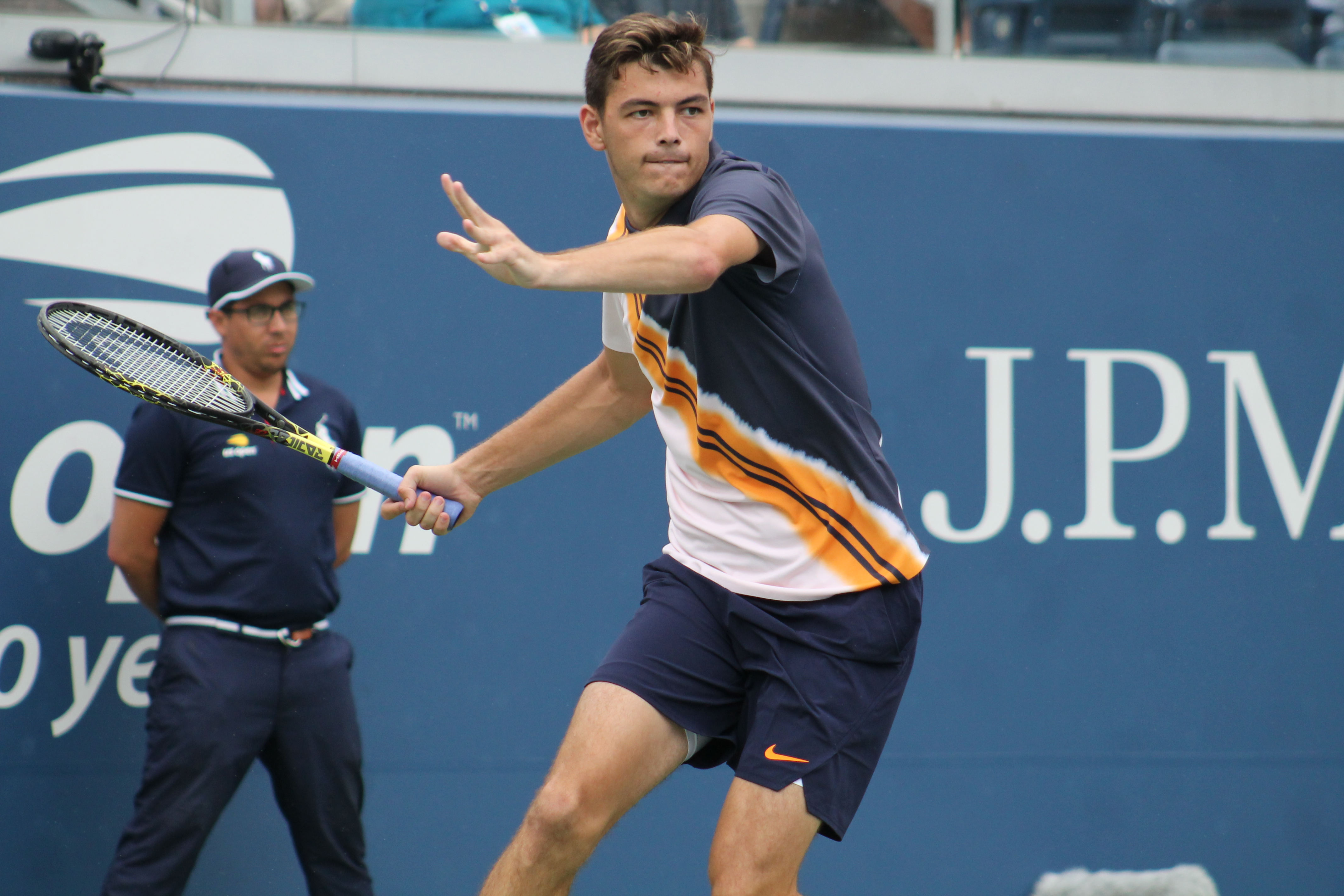 American Taylor Fritz fell to Austrian Dominic Thiem in Day Five action at the 2018 U.S. Open