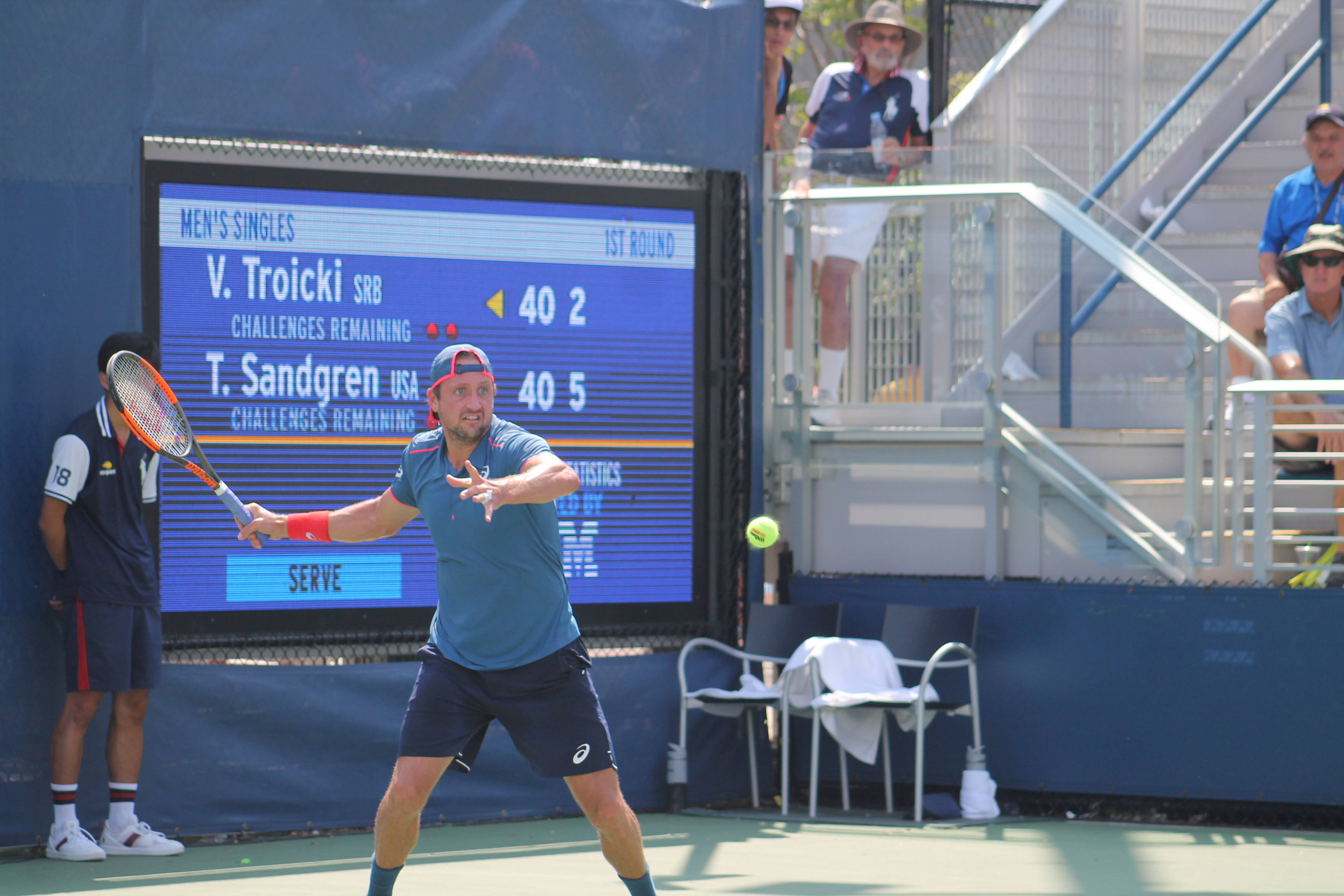 In opening round action at the 2018 U.S. Open, American Tennys Sandgren notched an impressive 6-3, 6-4, 6-2 victory over Serbia's Viktor Troicki