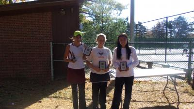 First place winner Alexa Graham of Garden City, third place winner Nicole Torres and runner up Vivian Cheng of Syosset at the 2012 Nassau County Championships