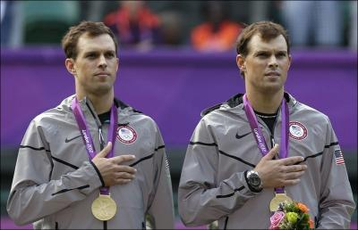 Americans Bob Bryan & Mike Bryan won the Gold Medal at the London 2012 Olympics in Men's Doubles, defeating France's Michael Llodra & Jo-Wilfried Tsonga 6-4, 7-6(2)