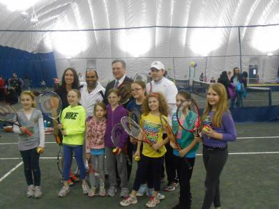 Nassau County Executive Ed Mangano joins Ellen and Sid Siddiqui in the grand re-opening of Long Beach Tennis Center