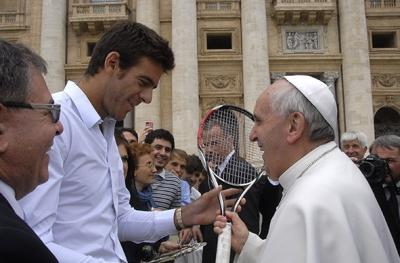 Juan Martin del Potro took in a Mass at the Vatican and also shared a meet-and-greet with the recently elected leader of the Catholic Church, Pope Francis, during the Internazionali BNL d'Italia