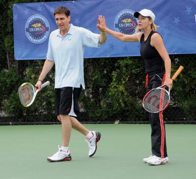 Six-time U.S. Open champion Chris Evert and ESPN's Mike Greenberg came up short in their bid for a wild card into the 2011 U.S. Open on Mondaty, losing their mixed-doubles second round match at the U.S. Open National Playoffs USTA Eastern Sectional Qualifying Tournament at the USTA Billie Jean King National Tennis Center in Flushing, N.Y.