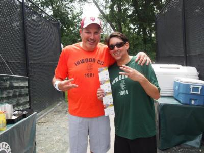 Three-time Men's Amateur Division Champions Lionel Goldberg and Jonathan Klee indicating their third straight Long Island Tennis Challenge title
