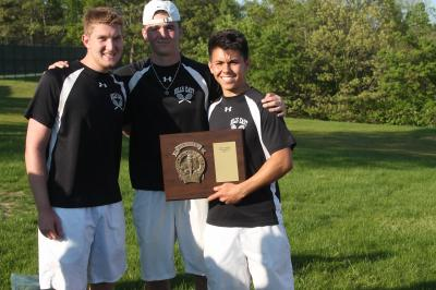 Captains (left to right) Adam Stein, Adam Wilck and Tyler London helped bring the county title back to Hills East.