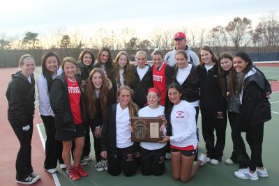 The Syosset High School Girls and Coach Larry Levane celebrate the 2012 LI Championship