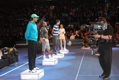 Rafael Nadal, Serena Williams, Juan Martin del Potro and Victoria Azarenka are introduced to the New York City crowd before the BNP Paribas Showdown