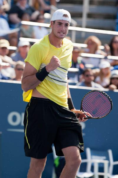 American John Isner, currently ranked 16th in the world, advanced to the SAP Open quarterfinals at the HP Pavilion in San Jose after a 7-6(3), 2-6, 6-3 win over Vasek Pospisil