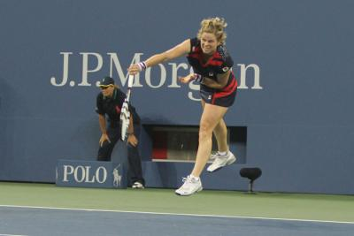 Kim Clijsters of Belarus began play last night at the 2012 U.S. Open against 16-year-old American wild card Victoria Duval under the lights at Arthur Ashe Stadium