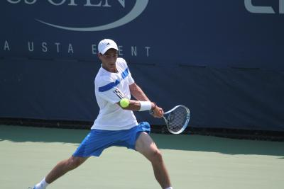 Long Island's Noah Rubin in action against Israel's Amir Weintraub, currently ranked 187th in the world