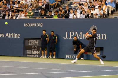 Novak Djokovic of Serbia, the defending men's singles U.S. Open champ, defeated Italy's Paolo Lorenzi, 6-1, 6-0, 6-1 under the lights of Arthur Ashe Stadium to cap off Day Two action at the 2012 U.S. Open