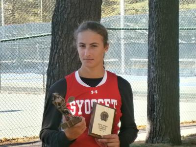 Syosset High School Senior Hannah Camhi was all business on Sunday winning in impressive fashion over Garden City's Morgan Herrmann 6-0, 6-0 in the Nassau County Girls Singles Championship at Eisenhower Park