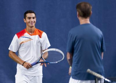 Noah Rubin practicing with Coach Lawrence Kleger at JMTA