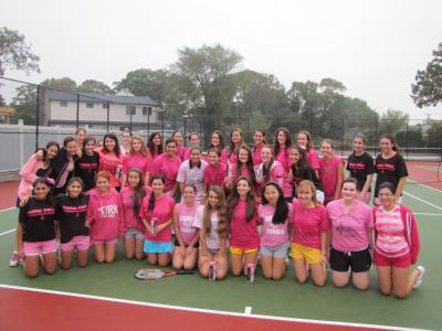On Oct. 16, the Massapequa and South Side Girls Varsity Tennis teams dedicated their match as part of October's Breast Cancer Awareness Month.