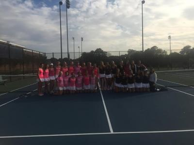 Manhasset and Friends Academy played for pink to raise Breast Cancer Awareness during their match Thursday.