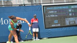 Bernarda Pera serves during a 2017 U.S. Open qualifying draw match. Serve clocks, which were instituted for the qualifying draw last year, will now be in all U.S. Open main draw matches.