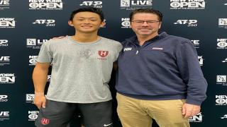New York Open College Wild Card Invitational winner Brian Shi with New York Open Tournament Director Peter Lebedevs.