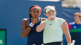 Coco Gauff (left) and Caty McNally (right) captured the doubles title in Parma this weekend, just hours after Gauff won the singles title.