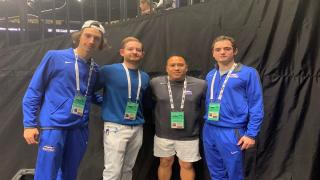 Ostap Kovalenko, physio Dr. Ross Ginsberg, Jason Pasion and Shawn Jackson at Nassau Coliseum training for their New York Open debut.