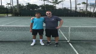 Oyster Bay, N.Y. native and nationally-ranked junior Ronnie Hohmann with his coach, former ATP Pro Todd Widom, in Florida.