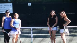 Maxine Oresky and Amy Tacher (left) won the Pine Hollow Country Club Women's Doubles Championships by beating Robyn Finn and Randi Fagen.