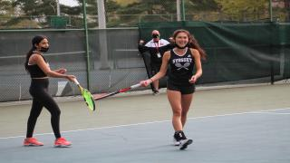 Liv Tiegerman & Alex Ho won at first doubles to clinch Syosset's county championship.