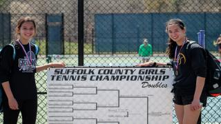 Kady (left) & Emily Tannenbaum (right) powered their way to the Suffolk County doubles title.