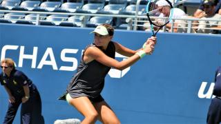 France's Kristina Mladenovic knocked out 14th seed and former champion Angelique Kerber at the US Open on Monday