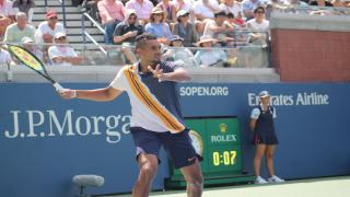 Australia's Nick Kyrgios fought back from a set down to beat Frenchman Pierre-Hugues Herbert 4-6, 7-6(6), 6-3, 6-0 in the U.S. Open second round on Thursday