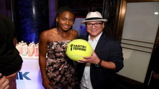 Tennis sensation Coco Gauff with Chef Masaharu Morimoto at the 2019 Citi Taste of Tennis event in New York City.