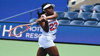 Sloane Stephens during a practice session over the weekend. Stephens defeated fellow American Madison Keys on Monday.