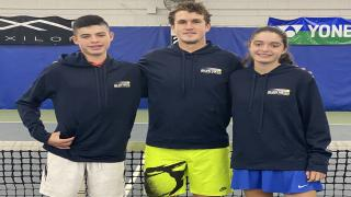 Marco and Linda Ziets-Segura with their coach Adam Lee at Glen Head Racquet & Fitness.
