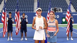 China's Xiyu Wang (left) won the U.S. Open Girls' Singles title by beating Clara Burel (right) of France 7-6(4), 6-2.